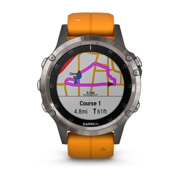 Garmin fenix5 Plus Sapphire Titanium, Orange Band
