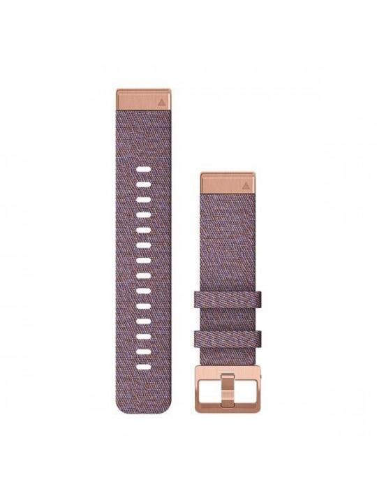 Řemínek pro fenix6S - QuickFit 20, nylonový, fialový, růžovo/zlatá přezka