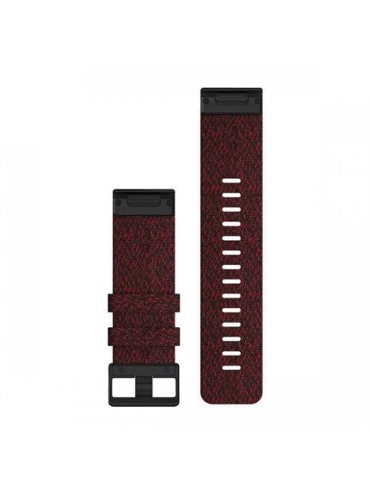 Řemínek pro fenix6X - QuickFit 26, nylon., červený, černá přezka