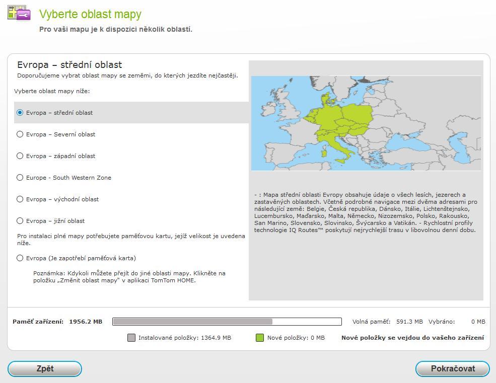 TomTom, Evropa - střední oblast 9.85